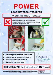 WERKINSTRUCTIEBLAD Select Chemie Power loodgietersontstopper